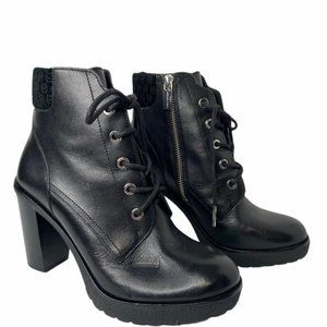 "Michael Kors ""Kim"" black leather lace up booties"